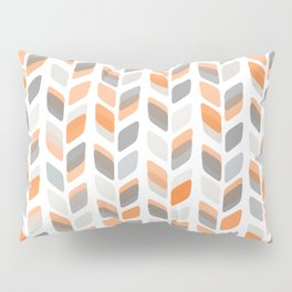 Modern Rectangle Print with Retro Abstract Leaf Pattern Pillow Sham