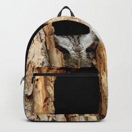 Little screech owl eyes open Backpack