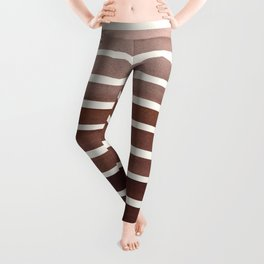 Watercolor Gouache Mid Century Modern Minimalist Colorful Raw Umber Stripes Leggings