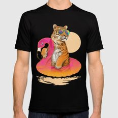 Chillin (Flamingo Tiger) 2X-LARGE Black Mens Fitted Tee