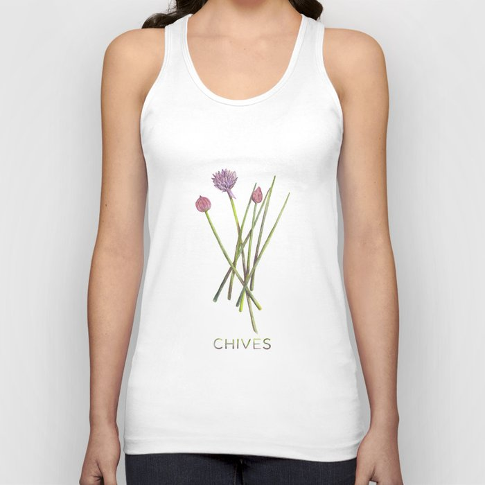 Watercolor Chives Illustration Unisex Tank Top
