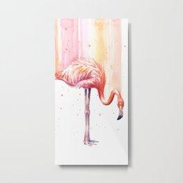 Pink Flamingo Watercolor Bird Animals Whimsical Animal Metal Print