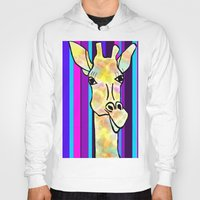 striped Hoodies featuring Striped Giraffe by Tiffany Saffle