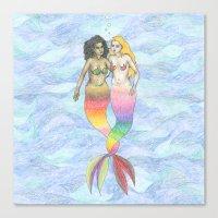 lesbian Canvas Prints featuring lesbian mermaids by ElenaM