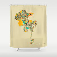 los angeles Shower Curtains featuring Los Angeles by Nicksman