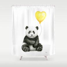 Panda with Yellow Balloon Baby Animal Watercolor Nursery Art Shower Curtain