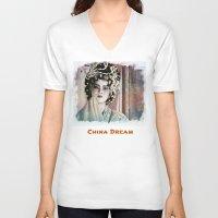china V-neck T-shirts featuring China Dream. by Ian Gledhill