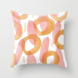 Watercolor cicles and stripes abstract patter Throw Pillow