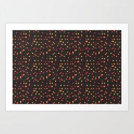 Mosaic Pixel Black Red Yellow Pattern Art Print