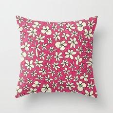 garland flowers pink Throw Pillow