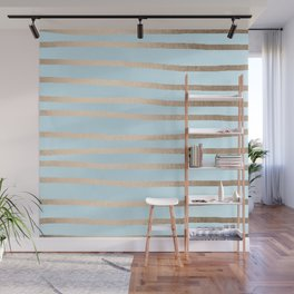 Abstract Drawn Stripes Gold Tropical Ocean Sea Turquoise Wall Mural