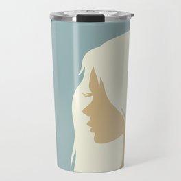 blonde girl in profile Travel Mug