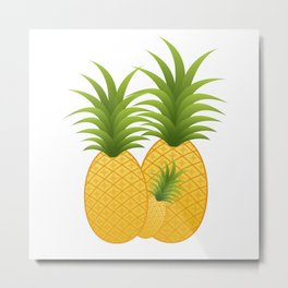 Pineapple Family Metal Print
