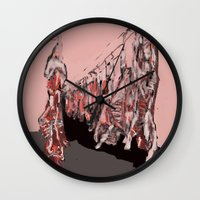meat Wall Clocks featuring Meat by Robert Morris
