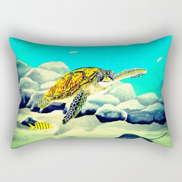 Colorful Sea Turtle Under The Blue Ocean Rectangular Pillow