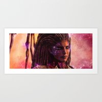 starcraft Art Prints featuring Sarah Kerrigan  by p1xer