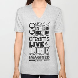 Henry David Thoreau Dreams Quote Unisex V-Neck