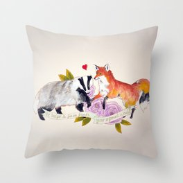 The Badger and Fox are Friends... Throw Pillow