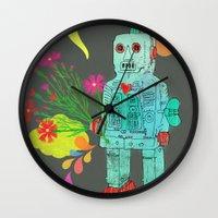 robot Wall Clocks featuring Robot by Elisandra