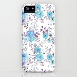 Lilac teal blue hand painted watercolor floral iPhone Case