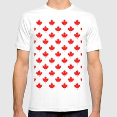 Maple Leaf pattern Mens Fitted Tee MEDIUM White