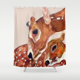 Deer Mother and Child Shower Curtain
