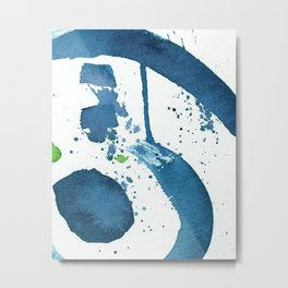 Blue Swirl Abstract Metal Print