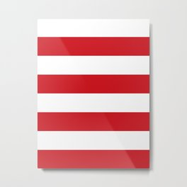 Wide Horizontal Stripes - White and Fire Engine Red Metal Print
