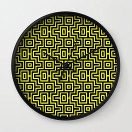 Yellow Buzz Puzzle Choctaw Pattern Wall Clock