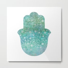 Floral Turquoise and Silver Hamsa Metal Print