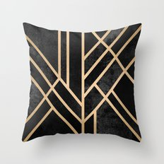 Art Deco Black Throw Pillow