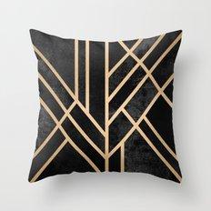 Art Deco Black Throw Pillow
