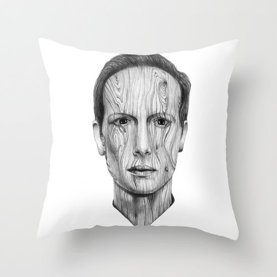 Wood Man Throw Pillow