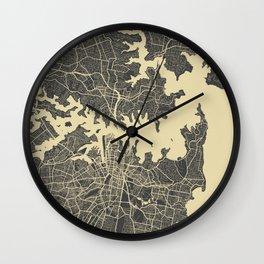 Sydney map yellow Wall Clock