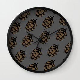 Gray Pinecone Pattern Wall Clock