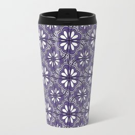 Continuous Flower Pattern Tessellation in Purple Travel Mug