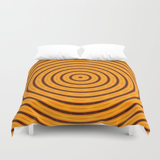 Circles within - Orange Duvet Cover