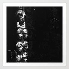 Venetian masks (2) B&W Art Print
