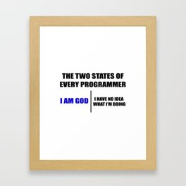 The two states of every programmer Framed Art Print