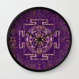 Sri Yantra  / Sri Chakra Amethyst and gold Wall Clock