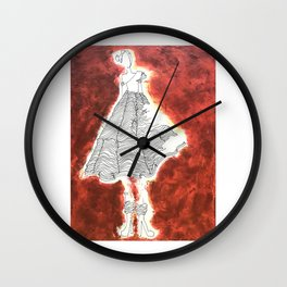 Gesture Lady in Dress, Red Wall Clock