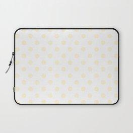 Small Polka Dots - Cornsilk Yellow on White Laptop Sleeve