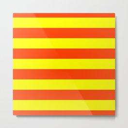 Bright Neon Orange and Yellow Horizontal Cabana Tent Stripes Metal Print