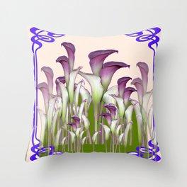 ART NOUVEAU  MAROON CALLA LILIES PURPLE DESIGN Throw Pillow