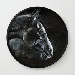Horse portrait in the dark Wall Clock