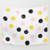 polka dot Wall Tapestries featuring Polka Dot  by Naomi Hadfield
