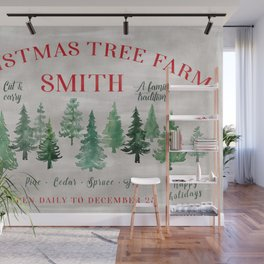 Christmas tree farm SMITH - message me for a different last name Wall Mural