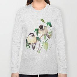 Chickadees, birds on tree, bird design neutral colors Long Sleeve T-shirt