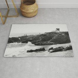 Leo Carrillo State Beach   Malibu California   Black and White Photography   Malibu Photography Rug