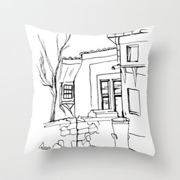 Old house on the street in the Plovdiv's old town Throw Pillow